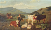 panoramic country landscape with farm girl, cattle & sheep by willem tjarda van starkenborgh stackouwer