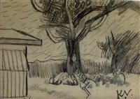 tree and shed by keith vaughan
