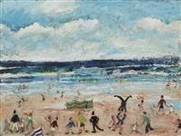 figures on a beach by simeon stafford