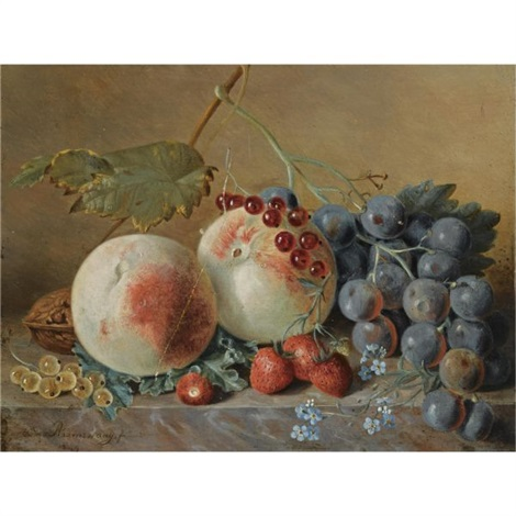 a still life with grapes and peaches by adriana van ravenswaay