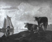 a washerwoman on a bank with cattle by leendert de koningh the younger