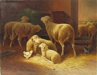 sheep and chickens in a stable by jules-g. bahieu