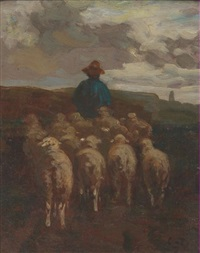 shepherd and sheep by constant troyon