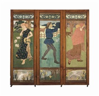 a three-fold mahogany screen incorporating canvases depicting nursery rhymes: little red riding hood; bo peep (+ the pied piper; 2 works) by phoebe anna traquair