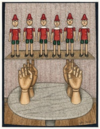 pinocchio on the hands by john brack
