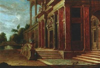 architectural capriccio of palace facades with garden vistas by jan baptist van der straeten