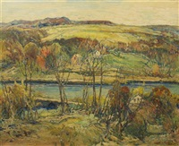 autumn river valley by charles reiffel
