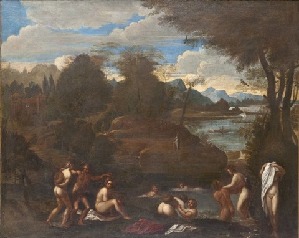 baigneuses dans un paysage by annibale carracci
