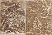 ezra et l'ange et femme tentée par des démons (double-sided) by nicolas de hoey