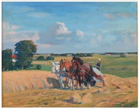 team of horses pulling wheat harvester by johannes meyer andersen