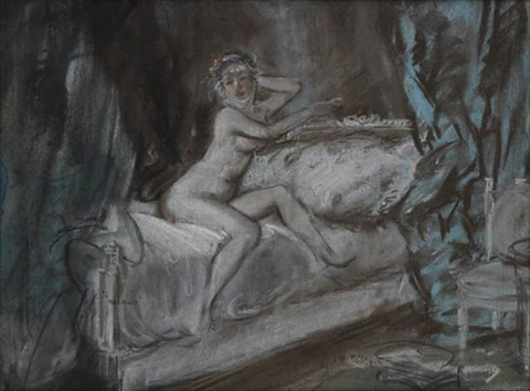 nude seated on a bed by everett shinn