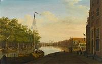 a dutch townscape with barges on a canal by paulus constantijn la (la fargue) fargue