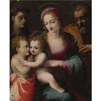 the holy family with the young saint john the baptist and saint elizabeth by francesco del brina