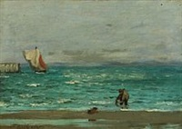 costal scenery with fisherman by carl ludvig thilson locher