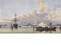 boats on the venetian lagoon by edward william cooke
