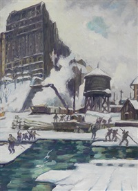 riverside drive, building the boat basin by leon kroll