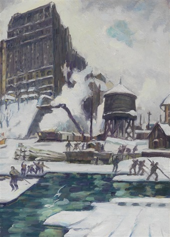 riverside drive building the boat basin by leon kroll