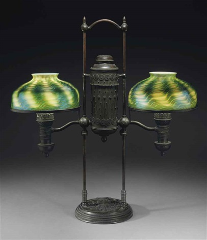 double student lamp by tiffany studios