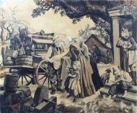 peddler with wagon offering calico to farm women by albert l. dorne