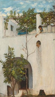 lady on a balcony, capri by john william waterhouse