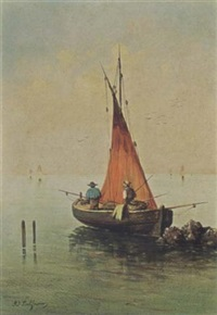 fishermen in a boat by adolphe-paul-emile balfourier