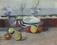 tasse, verre et fruits, iii by paul cézanne
