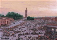 marrakech, place djema el fna, le soir by albert pilot