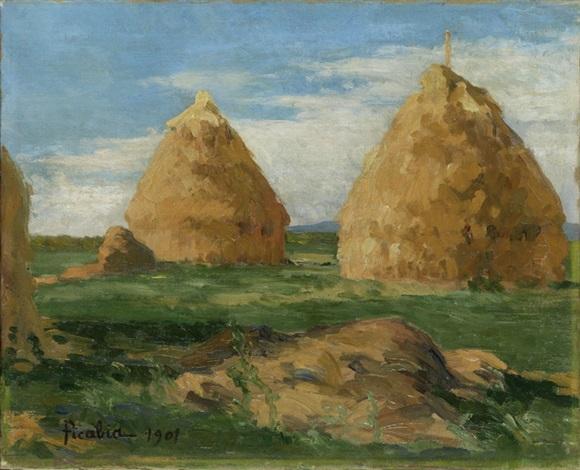 landschaft mit heuhaufen am morgen by francis picabia