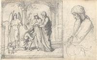 die heimkehr des tobias (+ detail des vaters und des hundes, (study), smllr; 2 works) by johann friedrich overbeck