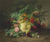roses and wildflowers in a forest by jean-baptiste robie