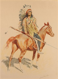 a bunch of buckskins: a sioux chief by frederic remington