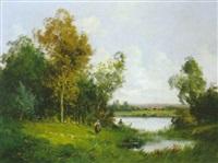 paysage à la rivière by edma morisot