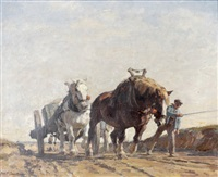 bauer mit pferdefuhrwerk by julius paul junghanns