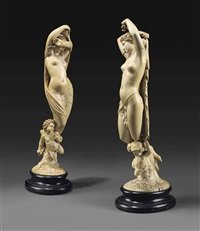 figures representin night and day (pair) by jean jacques pradier