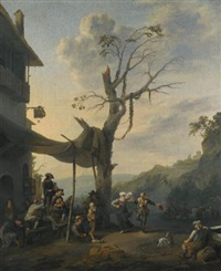 peasants dancing the tarantella outside an inn in a hilly italianate landscape by johannes lingelbach