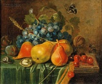 still life with summer fruits and nuts, butterflies and snail by johann daniel bager