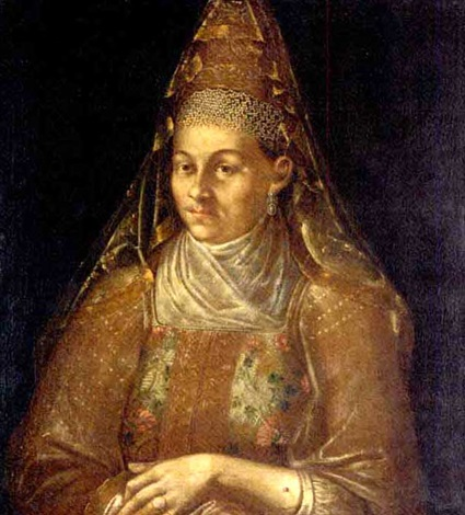 portrait of a woman in traditional russian costume by ivan adolskii