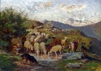 chèvres et boucs s'abreuvant by jules bertrand gélibert