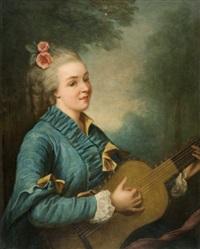 jeune femme jouant de la guitare by antoine vestier