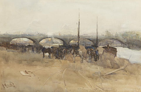 early morning on the seine, the pont neuf by arthur melville