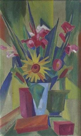 blumenstillleben mit gladiolen by ernst aufeeser