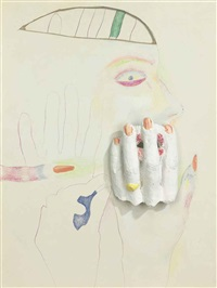 untitled (drawing with plaster hand) by marisol escobar