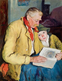 grand father reading (reading fairy tale) by oszkár glatz