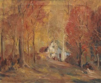 autumn landscape by carl frederick gaertner