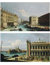 vue du pont du rialto (+ vue de la piazzetta avec la libreria, l'entrée du grand canal avec la dogana et santa maria della salute; pair) by francesco tironi