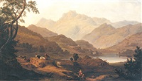 view the langdale pikes overlooking elterwater, with pike o'blisco, harrison's stickle and pauey arc in the far distance by samuel mountjoy smith