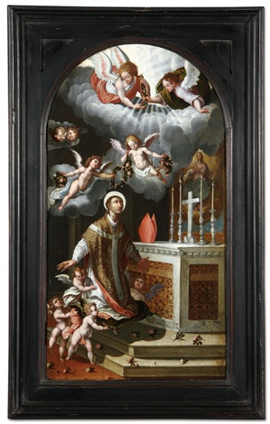 saint ildephonsus receiving a floral crown by hispano flemish school 17