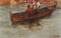 children sailing on the lagoon by eugen (cean) voinescu