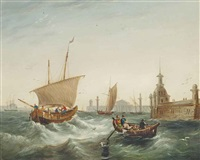 shipping at the harbour mouth by a breakwater by british school (19)