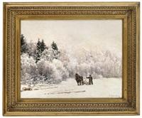tømmerkjøring i vinterlandskap by jacob gloersen